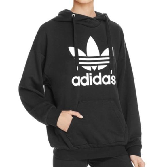 dceb8a8a Adidas originals black trefoil hoodie women's L